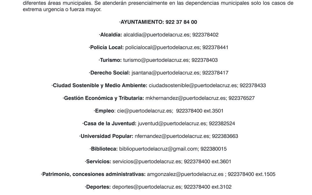 Instalaciones municipales cerradas: Forma de contacto