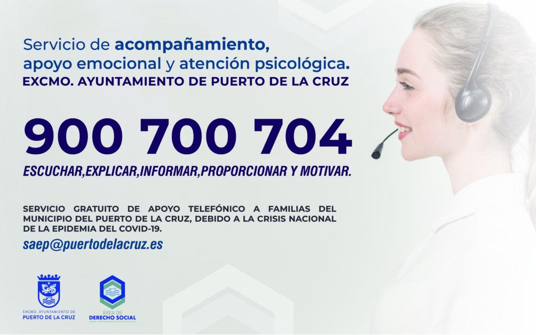 El Ayuntamiento habilita un servicio telefónico gratuito de acompañamiento, apoyo emocional y atención psicológica