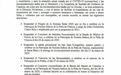 La Junta de Hermandades y Cofradias «Santo Madero» suspende de manera oficial los actos de CUARESMA